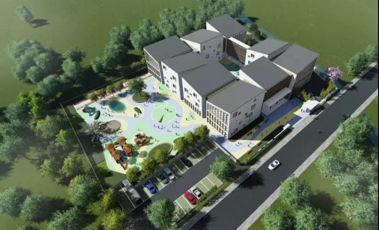 幼儿园立面设计采用水墨江南民居的意向,九个体块组成幼儿园,白墙
