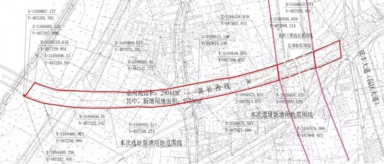 下图蓝色虚线为原黄长改线,绿圈内的红线为本次工程项目.